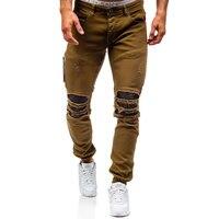Men Hole Distressed Jeans Skinny Jeans Ripped Slim Mens Biker Jeans Fashion Trousers Medium Wash Streetwear
