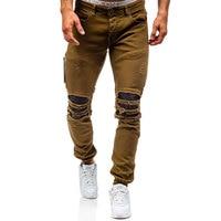 Männer Loch Distressed Jeans Skinny Jeans Zerrissene Schlanke Herren Biker Jeans Mode Hose Mittleren Waschen Street Hip Hop Hosen Jogger