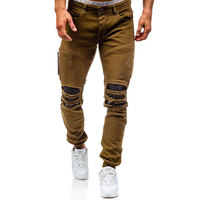 Men Hole Distressed Jeans Skinny Jeans Ripped Slim Mens Biker Jeans Fashion Trousers Medium Wash Streetwear