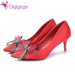 Glglgege New Women Pumps Shoes Women Suede  Shallow Slip-On Pointed Toe High heels Wedding Party Derss Shoes Mujer Plus Size 41