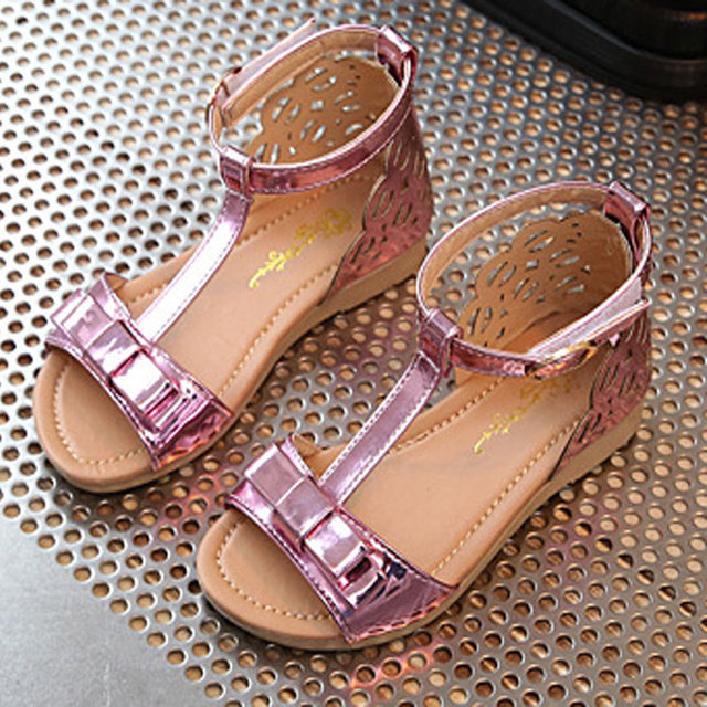 06ff9f3bff3e New 2017 Summer Girls Shoes Flats Sandals Girl Princess Fashion Bow  Cut-outs Casual Children