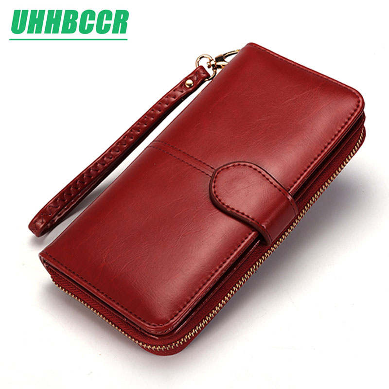 Women Wallet Female Purse Women Leather Wallet Long Trifold Coin Purse Card Holder Money Clutch Wristlet Multifunction Zipper