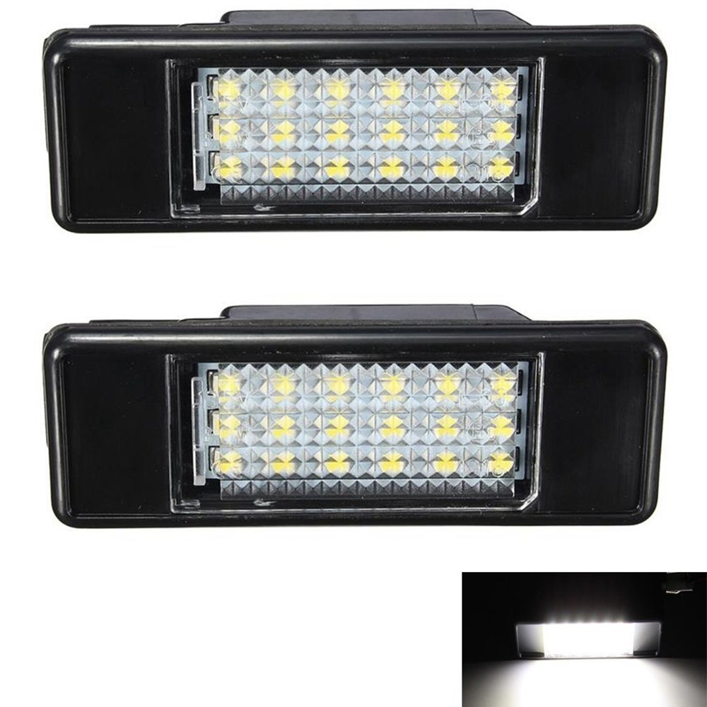 2x White 18SMD LED License Plate Light For Peugeot 106 207 307 308 406 407 508 Car Styling For Peugeot Car Light Source atreus car led license plate lights 12v for peugeot 307 308 407 207 3008 508 for citroen c4 c5 c3 accessories white smd led lamp