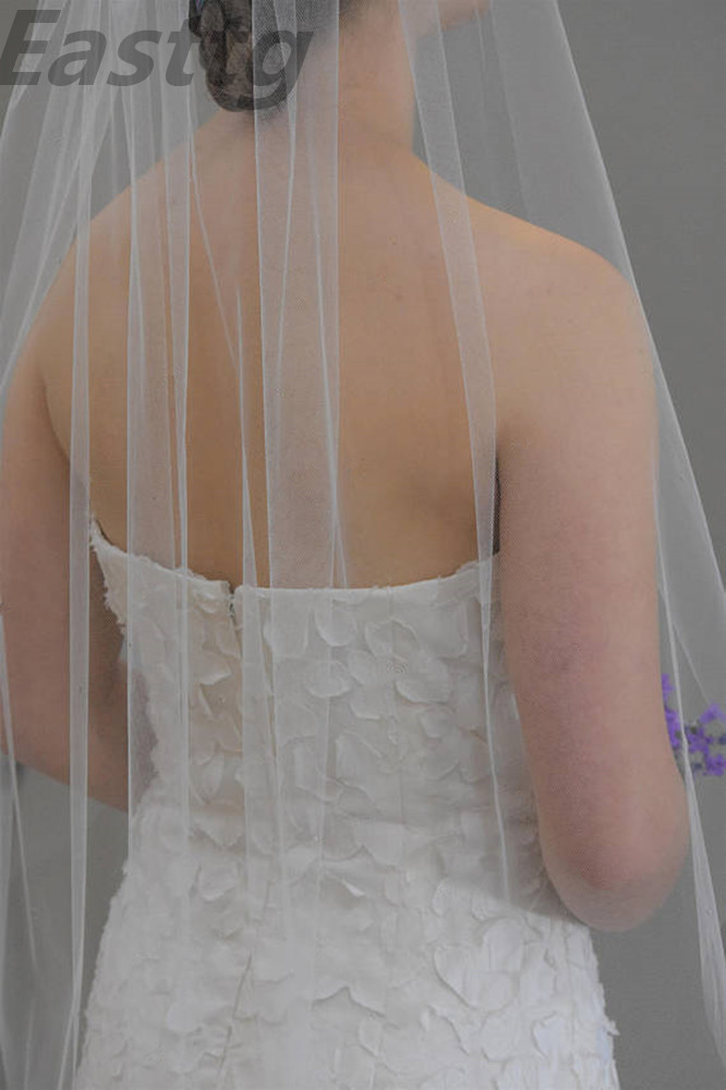 "Veu De Noiva one Layer White Ivory Cut edge Wedding Veil With Comb 30"" elbow length bridal veils plain edge Wedding Accessories"