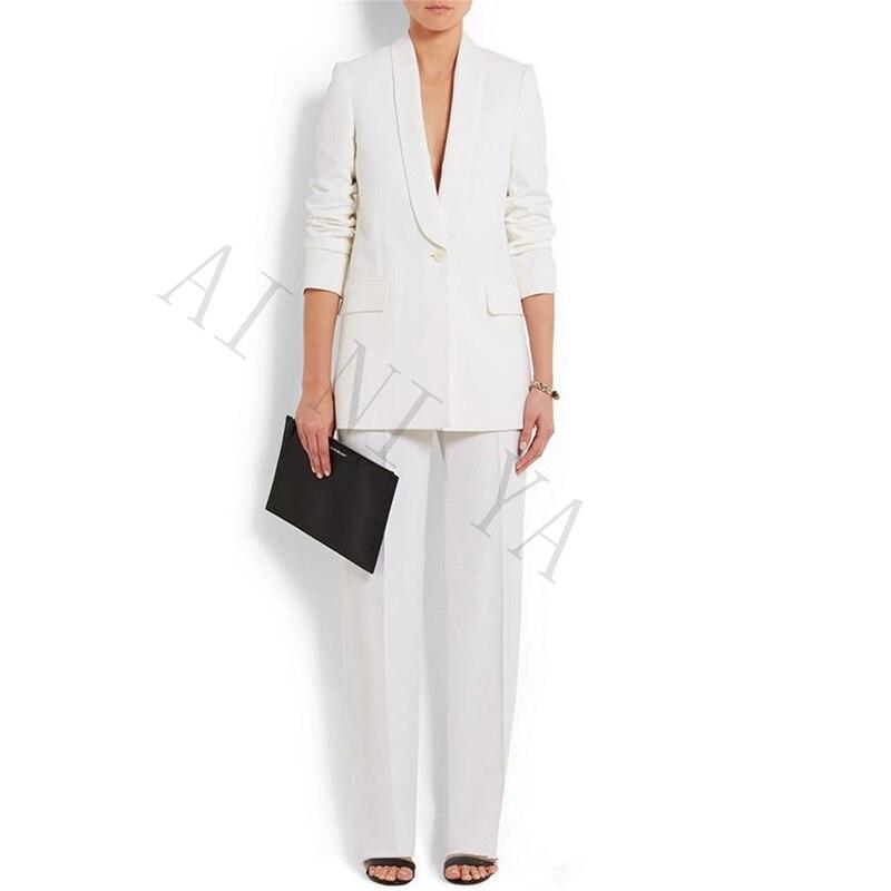 Jacket+Pants New Women Business Suits White Female Office Uniform Formal Work Wear Ladies Trouser Suit 2 Piece Set Custom