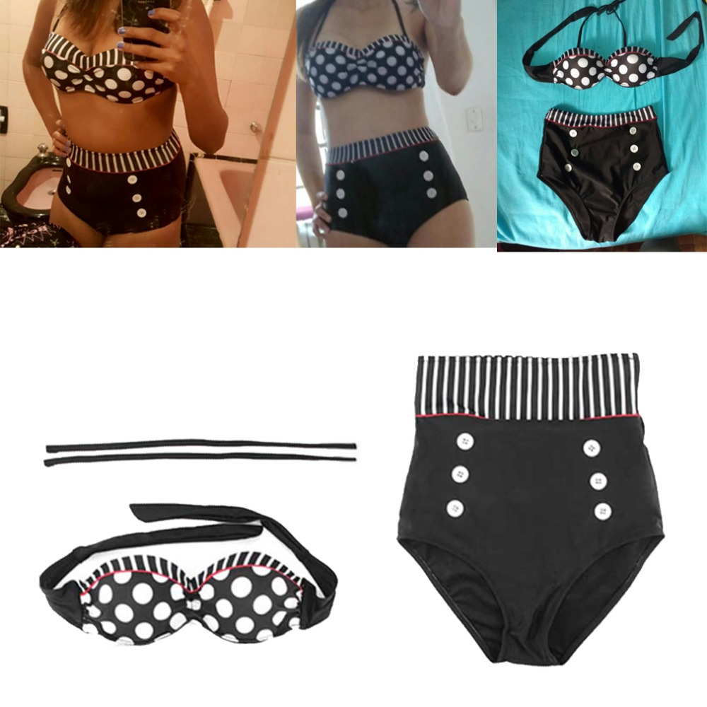 Retro Sexy High Waist Swimsuit Swimwear Bathing Push Up Bikini Set Polka Dot Summer Beach Bikinis Vintage Halter Underwire Bra polka dot print women swimwear sexy push up bikini brand high waist swimsuit