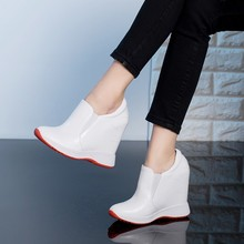 Women Sneakers Fashion Women Height Increasing Genuine Leather slip on Wedges