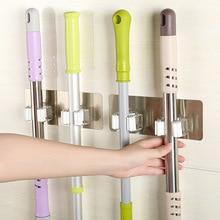 Pared de soporte para mopa gancho organizador para baño y cocina gancho para escoba de almacenamiento Montado en Rack de barras colgantes herramientas de limpieza de