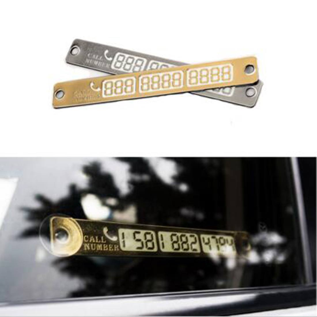 Hot Golden/silver Car Luminous Temporary Car Parking Card Notification Sucker Plate Car Styling Phone Number Card 15*2cm