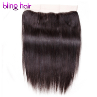 Blinghair Remy Brazilian Straight Human Hair 13x4 Lace Frontal Natural Color 10 To 22 Inch 130