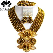 fashion Champagne Nigerian wedding African beads jewelry set crystal necklace bracelet earrings Majalia A well-known brand 1068(China)