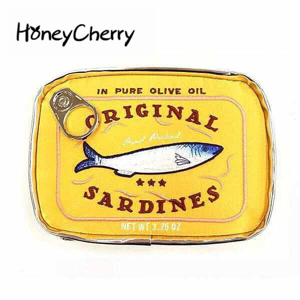 Large Capacity, Cute Sardine Canned Fruits Bags, Cosmetic Bags, Creative Kitty Fish Canned Cosmetic Bags.