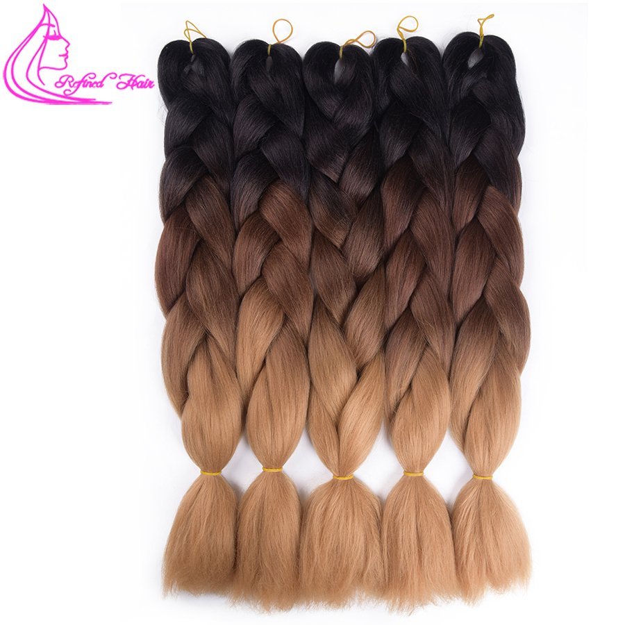 Refined Hair 24inch Jumbo Braids Ombre Kanekalon Braiding Extensions Brown Blonde Synthetic Crochet Braid For Russian Women
