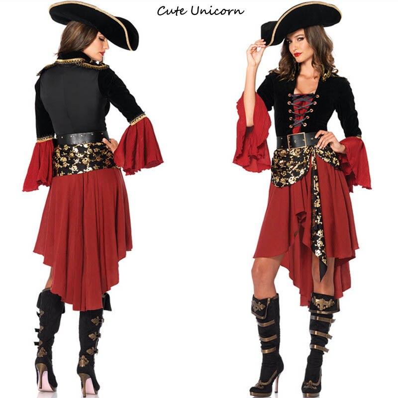 Friendly Pirate Costume Women Adult Halloween Carnival Costumes Fantasia Fancy Dress Caribbean Pirates Cosplay Costume Holidays Costumes Costumes & Accessories