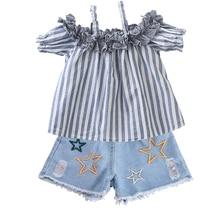 Kids Girls Clothes Set Striped T-shirt+Denim Shorts 2T