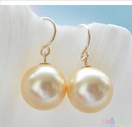 Lovely Women's Wedding Jewelry FREE shipping> >>>P3805 12mm golden ROUND SOUTH SEA SHELL PEARL DANGLE EARRING