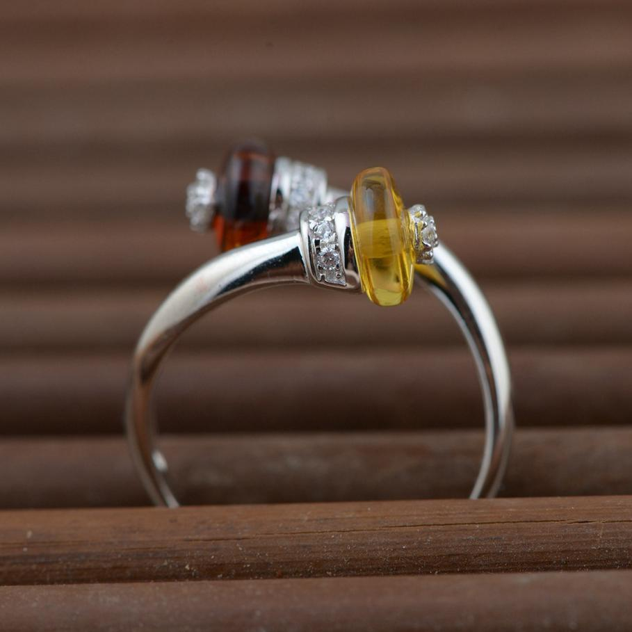 Real Pure 925 Sterling Silver Amber Rings For Women Resizable Simple And Elegant Red Yellow Color Natural Gemstone Jewelry