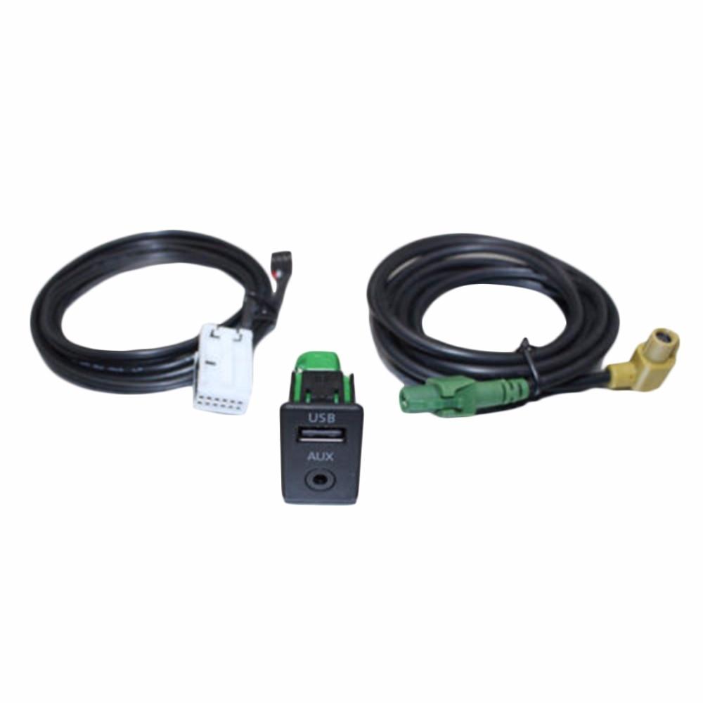 Автомобиль USB AUX Аудио Vedio Кабель Переключатель Зажигания для VW Passat B6 B7 CC Touran ПОЛО Реконструкция RCD510 +/310 + Автомобилей Aux И USB Кабель Переключателя