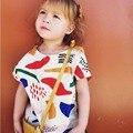 T-shirt das meninas Dos Meninos Roupas de Verão 2017 Da Marca Meninas Do Bebê Tops Graffiti Imprimir Roupa Dos Miúdos Dos Meninos camisetas Roupas Crianças