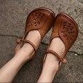 Artesanal de couro genuíno lyrate sapatos recorte do vintage das mulheres bonitos sapatos de salto plana sandálias macias e confortáveis FL1318A