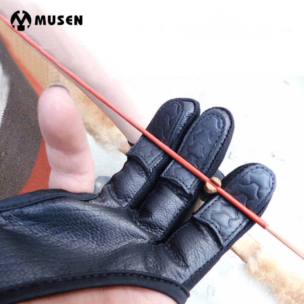 3 Finger Handschuhe Hohe Elastische Blcak Leder Hand Schutz Bogenschießen Schutz Handschuhe für Bogenschießen Jagd Schießen