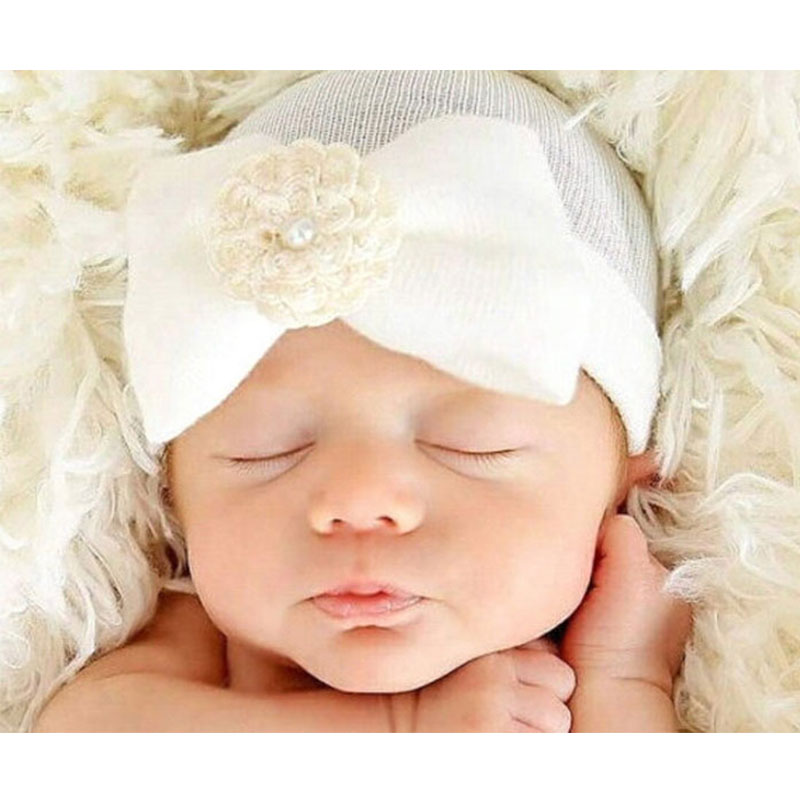 DreamShining 0-6 Months Newborn Photography Props Soft Cotton Baby Hat Striped Bowknot Infant Girl Cap Beanie Accessories