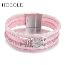 Multi-layer Leather Bracelet For Women Men Boho Rhinestone Magnetic Wristband Bangles Party Jewelry Bijuteria Feminina(China)