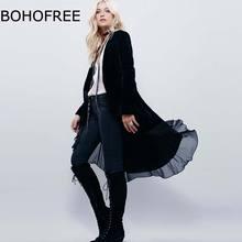 BOHOFREE 2018 Open Stitch Long Velvet Jacket Outewear Ruffles Chiffon Mesh Patchwork Velvet Coats Femme Casual Velvet Jackets