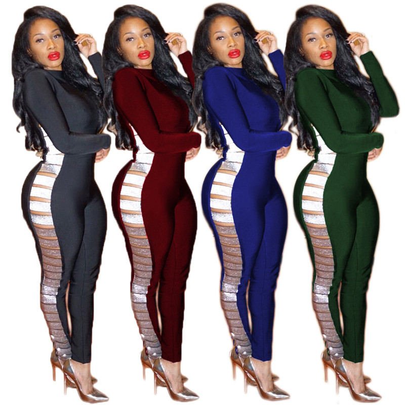 Sexy Women Black Bodycon Jumpsuit Long Sleeve Tight Bodysuit Side Hollow Out Skinny Overalls Clubwear One Piece Jumpsuit Catsuit