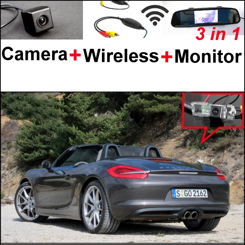 3 in1 Special Wifi Camera + Wireless Receiver + Mirror Monitor Easy DIY Parking System For Porsche Boxster 987 981 Panamera wireless pager system 433 92mhz wireless restaurant table buzzer with monitor and watch receiver 3 display 42 call button
