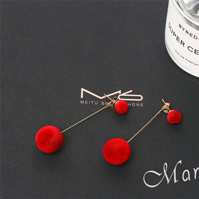 Women's Plush Ball Long Drop Earrings