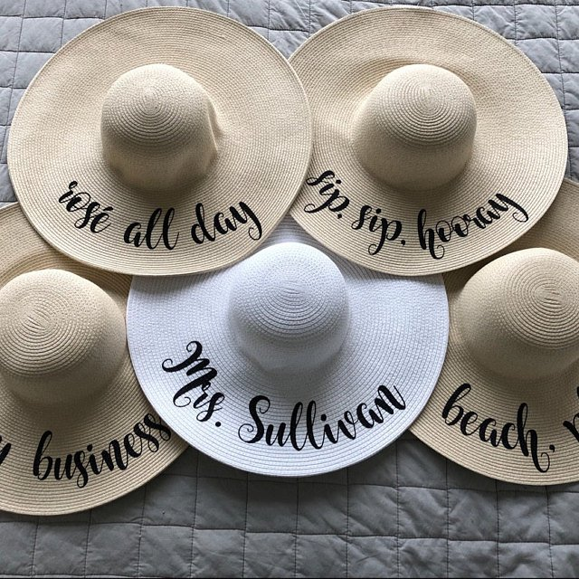Bridesmaid Gifts Beach Wedding: Customize Any Text Bride Honeymoon Beach Hat Floppy Hats