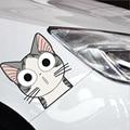 Etiquetas dos desenhos animados Bonito Queijo Cat Decal Personalidade Refective Animal Car Styling Acessórios Da Motocicleta 2 Tamanho