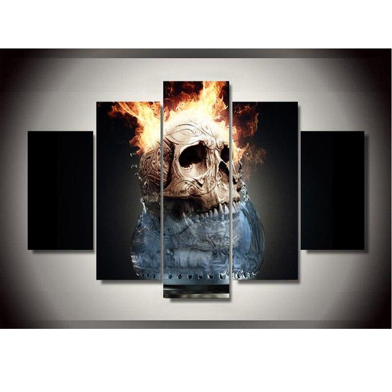 5 Панель череп горение современного дома Декор стены Холсты для рисования Книги по искусству HD печати Холсты для рисования стены картину дл...