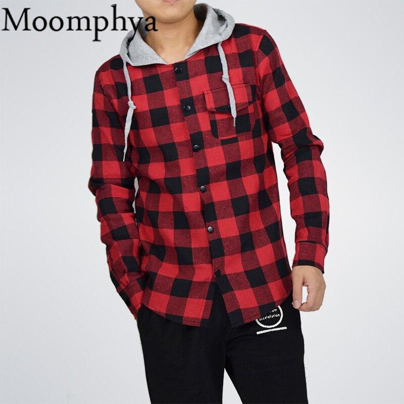 364c9b2bfb9 Moomphya Fall Winter Men plaid hoodies patchwork hooded sweatshirt hip hop  hoodies men streetwear harajuku men hoodie-in Hoodies   Sweatshirts from  Men s ...