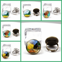 Fashion retro Van Gogh art painting series ring star night glass crystal wheel charm men women party holiday gifts souvenir