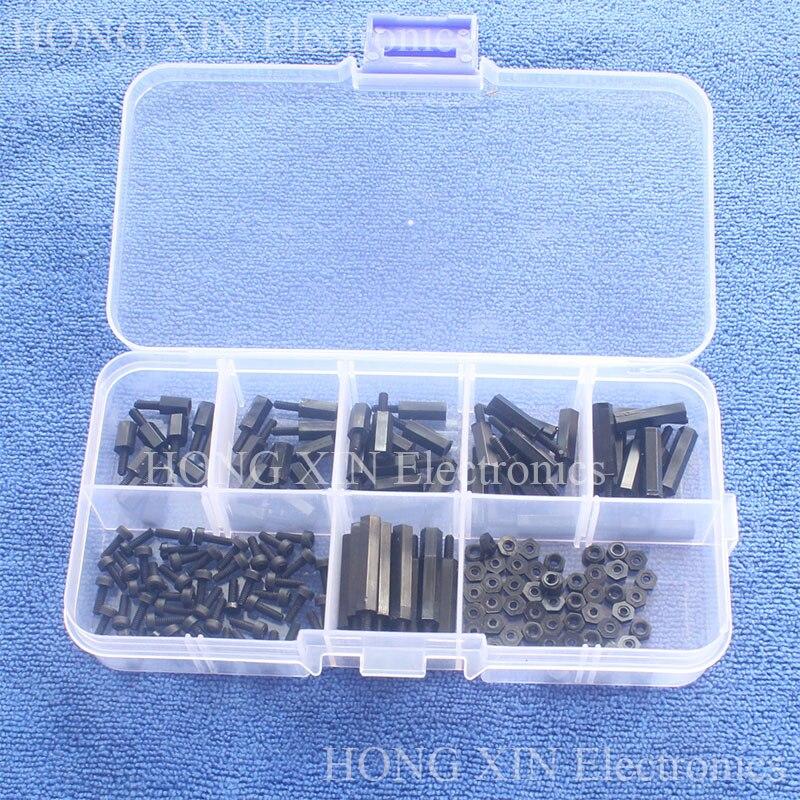 180pcs/ Lot M2 Nylon Hex M-F Spacers / Screws/ Nuts Assorted Kit, Standoff