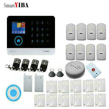 SmartYIBA Touch Panel 3G WCDMA Burglar Alarm System Home Security system App Control Wireless Siren Vibration Smoke Fire Sensor