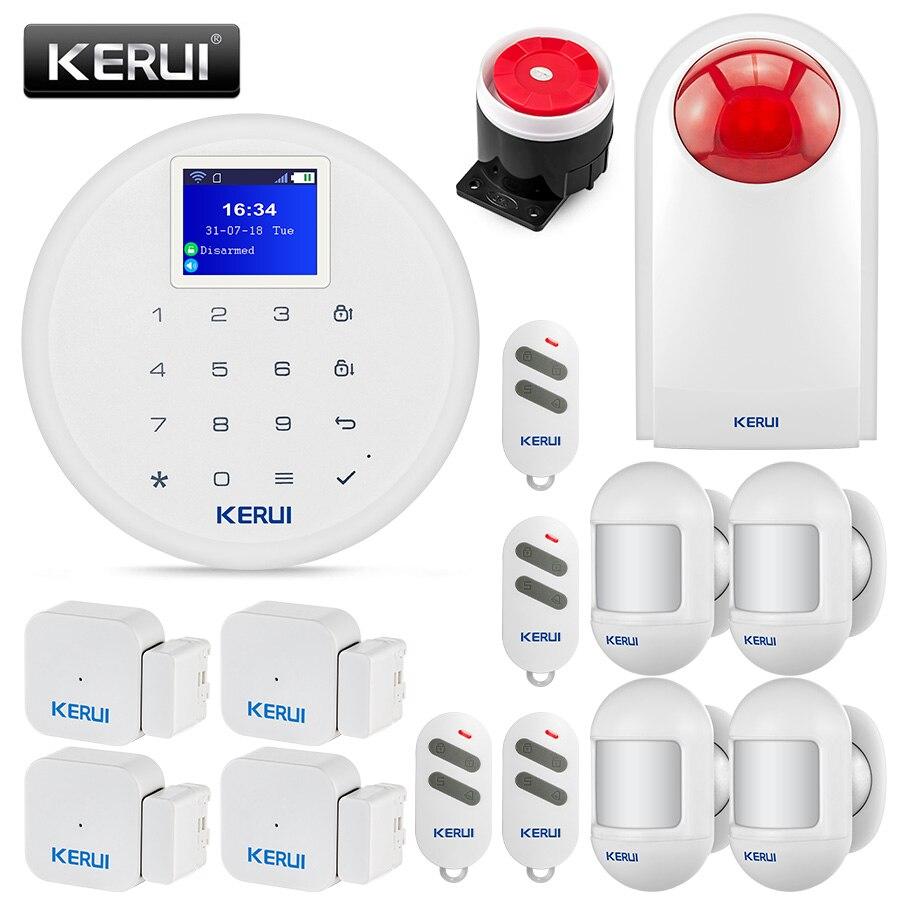 KERUI W17 inalámbrico WiFi GSM sistema de alarma de seguridad alarma antirrobo Kits de protección múltiple Idioma IOS Android APP Control