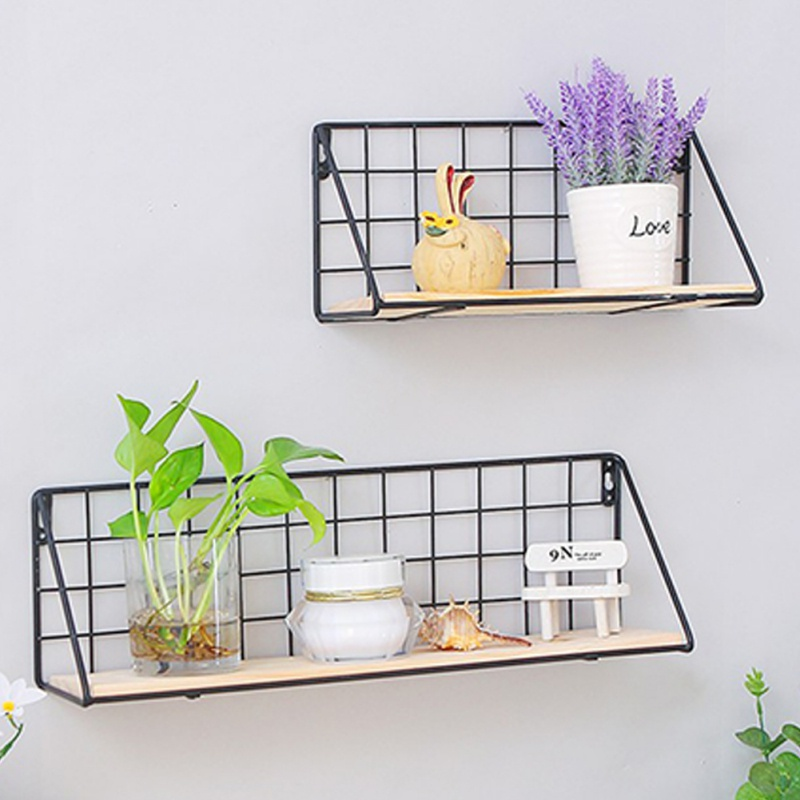 Nordic Wooden Iron Wall Floating Shelf Mounted Storage Rack Organization Bedroom Kitchen Home Kid Room Diy Decoration Holder