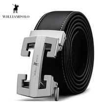 Williampolo 2019 Fashion New Genuine Leather Belt High Quality Male Brand Automatic Ratchet Buckle Strap PL18295P