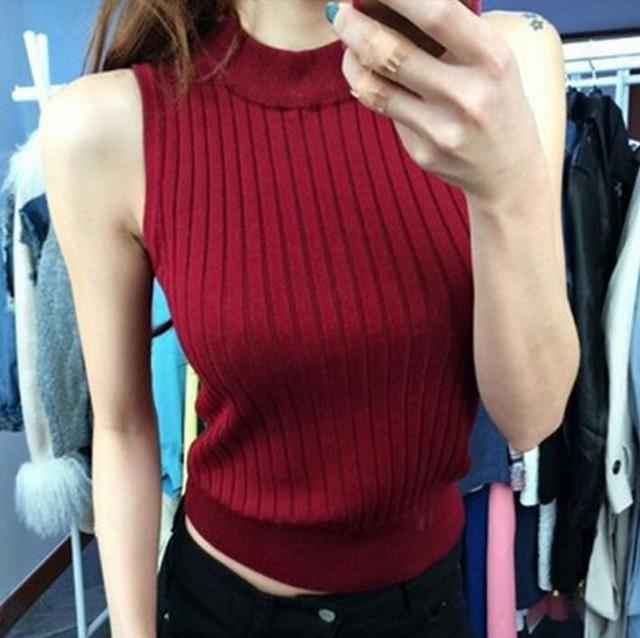 New Women 2017 fashion Slim Tops Cropped Knitted Blouses Vest Womens stand collar Sexy Tops Tees S284