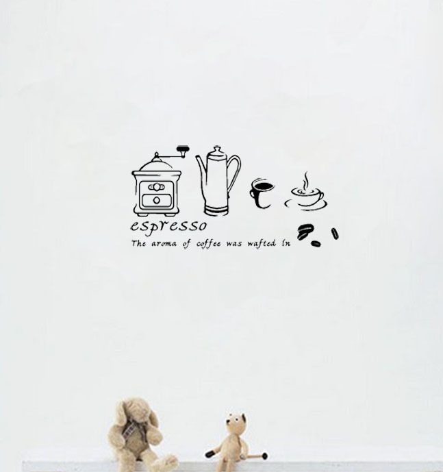 Coffee Espresso Maker Wall Kitchen Sticker Say Quote Word