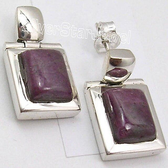Silver Classic rubi Gem HANDMADE LARGE Stud Earrings 2.2 CM