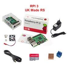 Великобритания RS Raspberry Pi 3 Модель B + акриловый чехол + 16 г SD Card + Процессор вентилятор + 2.5A Адаптеры питания + 1.5 м Кабель HDMI-HDMI + теплоотвод