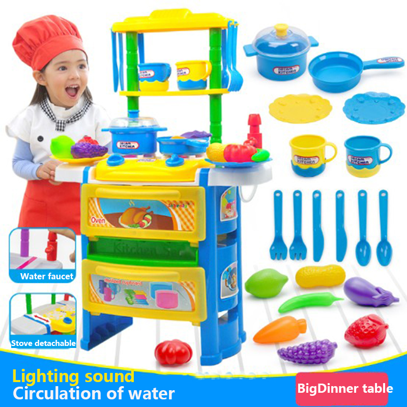 Baby Miniature Kitchen For toys Kids Children Pretend Play Simulation fruits and vegetables Cooking toys set With Light Sound