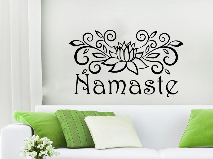 Namaste Wall Decal Vinyl Sticker Decals Lotus Flower Yoga Mandala Decor