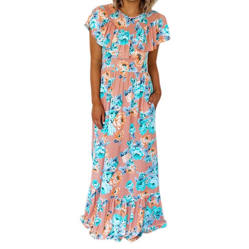 Beach Boho Sundress Female Summer Butterfly Sleeve Ruffles A-line Maxi Dress Women Floral Printed Plus Size Long Dresses GV292