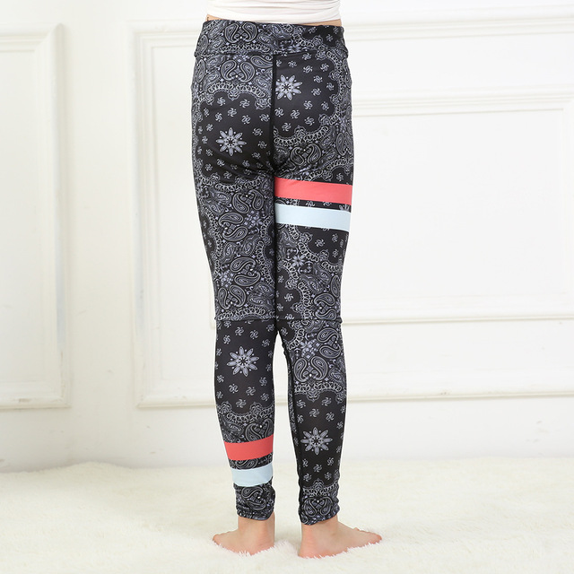 f17ee3e8fd Matching Child pants Black Vintage flowers print red white strip girls  sports dance activewear fitness leggings