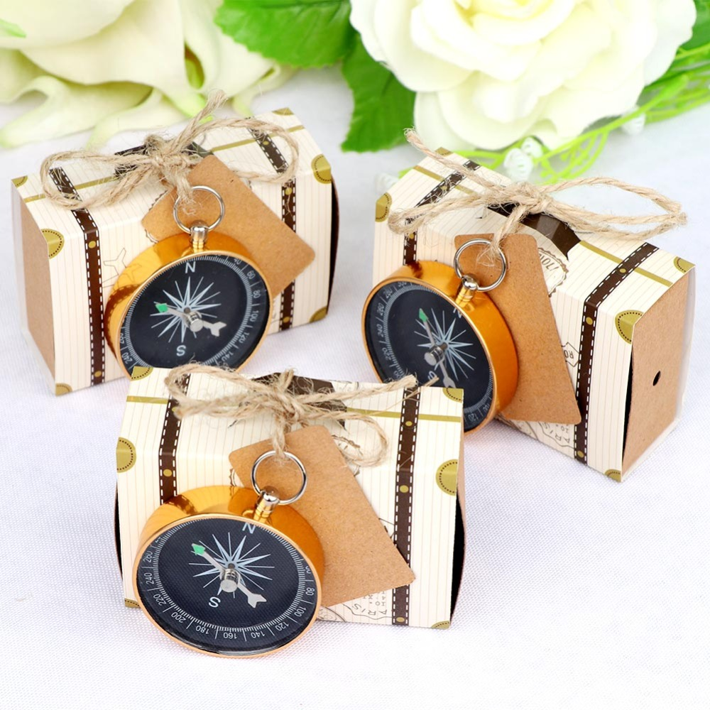 10pcs Wedding Gift Box With Compass Travel Themed Party Favor Decorations Wedding Souvenir Party Gift For Guest New Year 2018